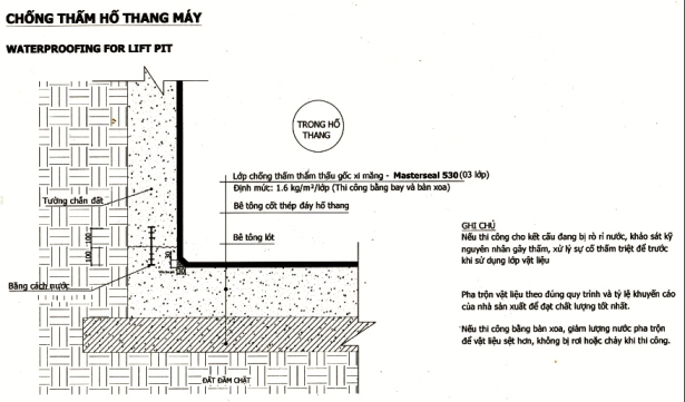 Bản vẽ thi công chống thấm hố thang máy